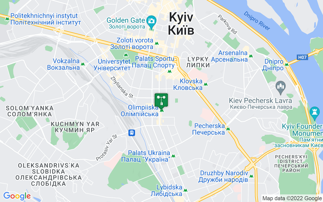 Map showing location of weather station in Kiev