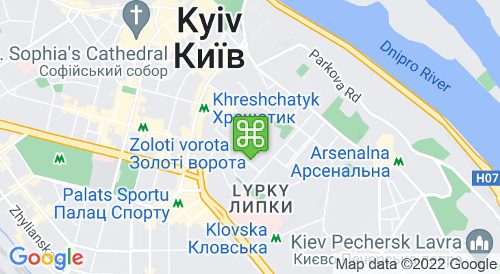 Map showing location of Gorodetsky House, Kiev – House with Chimeras