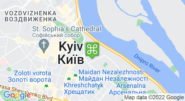 Map showing location of Khreshchatyk Park
