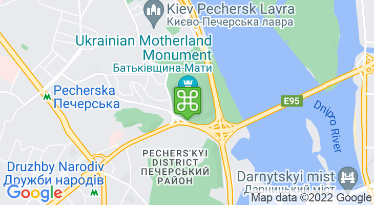 Map showing location of Motherland Monument (Rodina Mat) & Museum of the Great Patriotic War