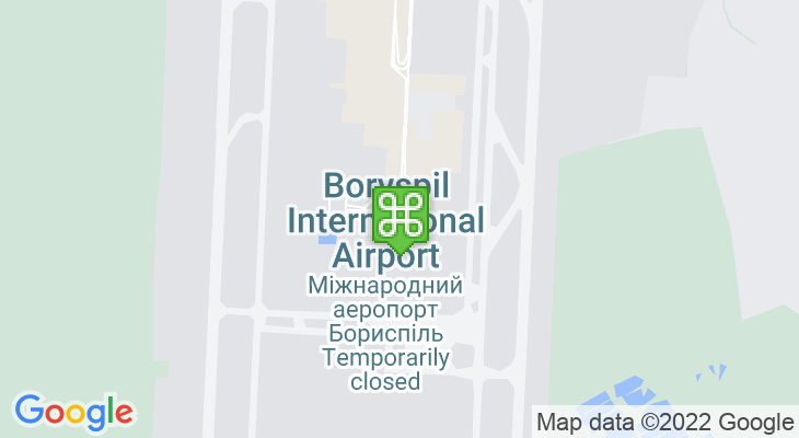 Map showing location of Boryspil International Airport
