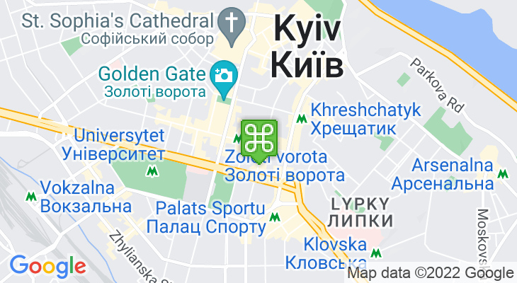 Map showing location of Teatralna Metro Station