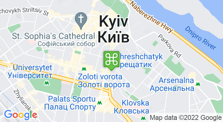 Map showing location of Khreshchatyk Metro Station