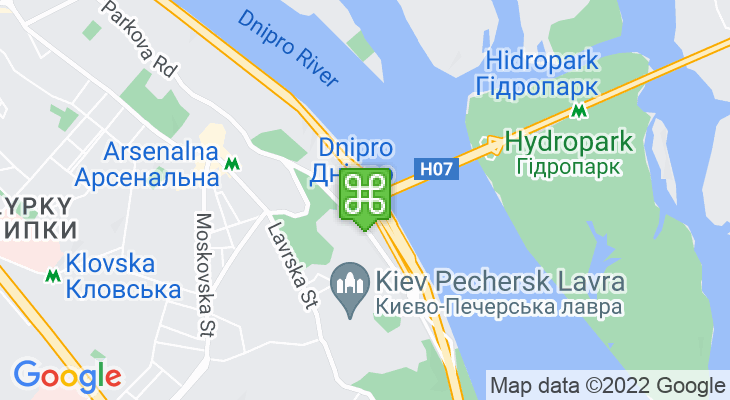 Map showing location of Dnipro Metro Station