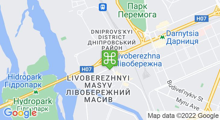 Map showing location of Livoberezhna Metro Station