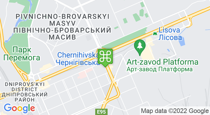 Map showing location of Chernihivska Metro Station