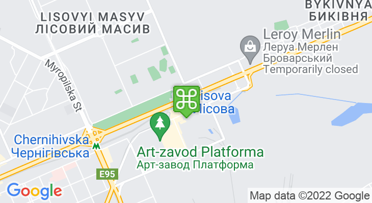 Map showing location of Lisova Metro Station