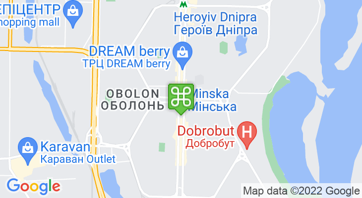 Map showing location of Minska Metro Station