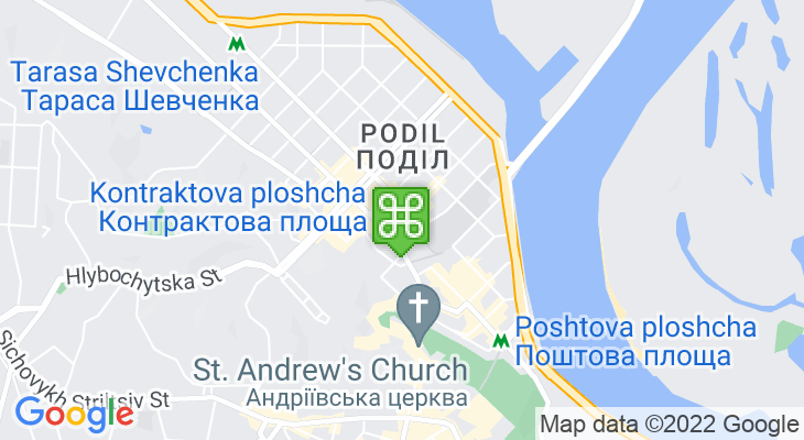 Map showing location of Kontraktova Ploshcha Metro Station