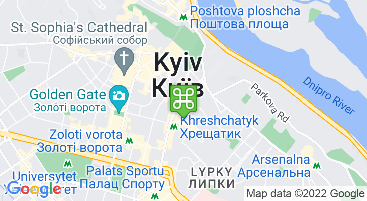 Map showing location of Maidan Nezalezhnosti Metro Station