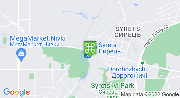 Map showing location of Syrets Metro Station