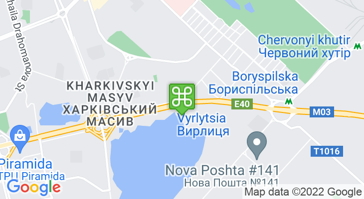 Map showing location of Vyrlytsia Metro Station