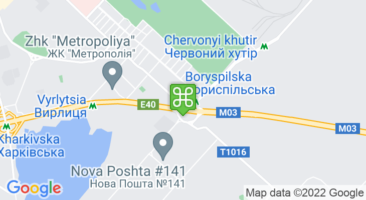 Map showing location of Boryspilska Metro Station
