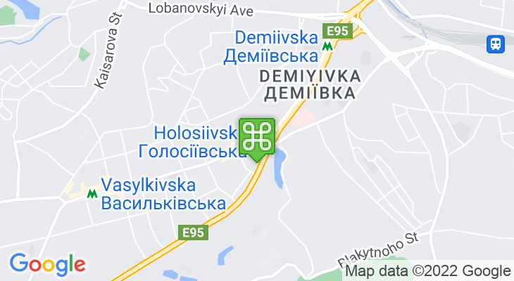 Map showing location of Holosiivska Metro Station