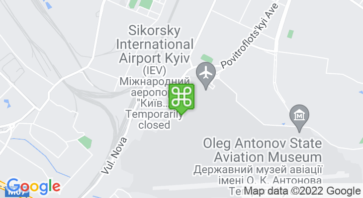 Map showing location of Kyiv International Airport