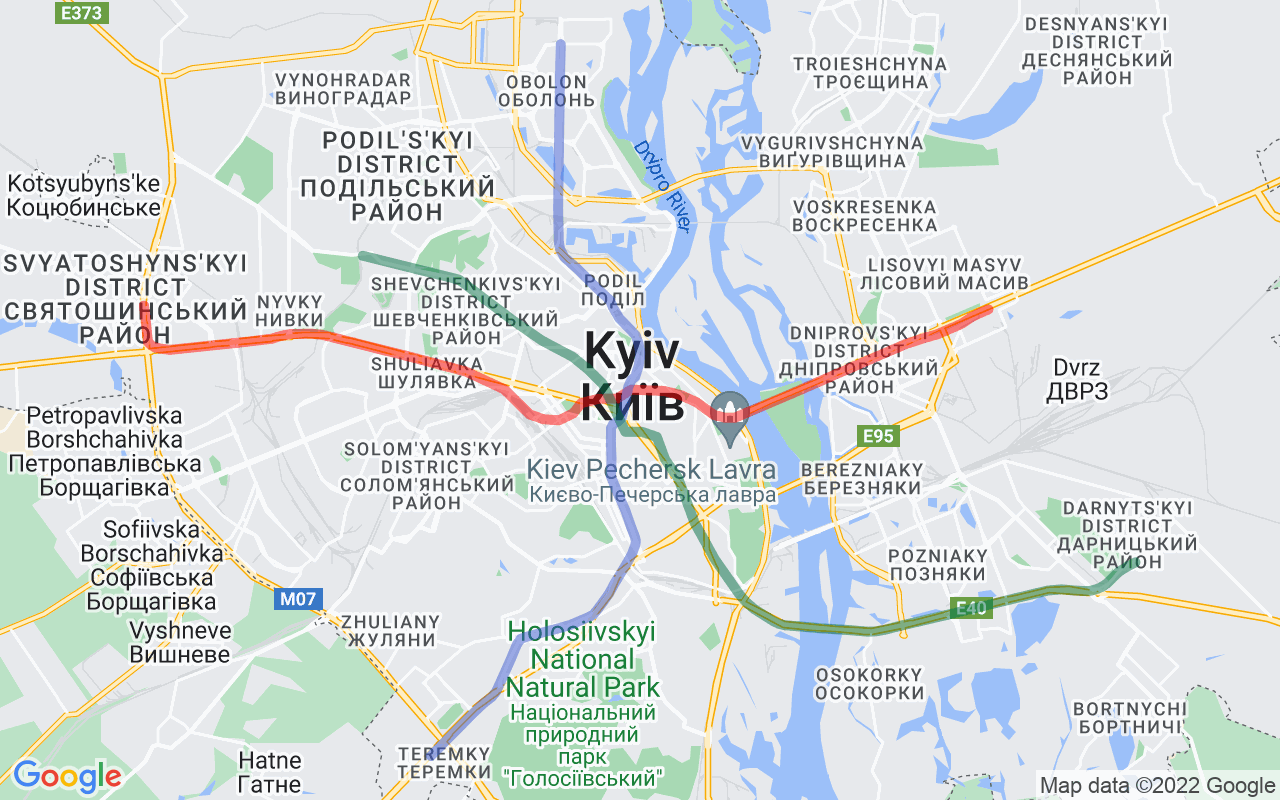 Map showing route of Kiev Metro Map