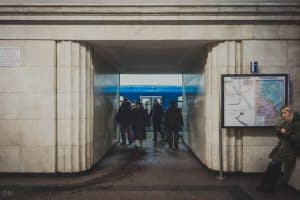 Entrance to platform of Arsenalna Metro Station in Kiev, Ukraine