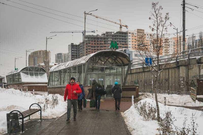 Entrance to Demiivska Metro Station in Kiev, Ukraine