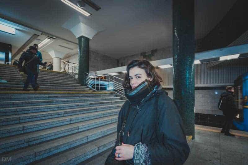 Girl at Holosiivska Metro Station in Kiev, Ukraine