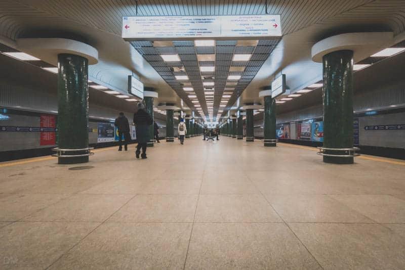 Platforms at Holosiivska Metro Station in Kiev, Ukraine