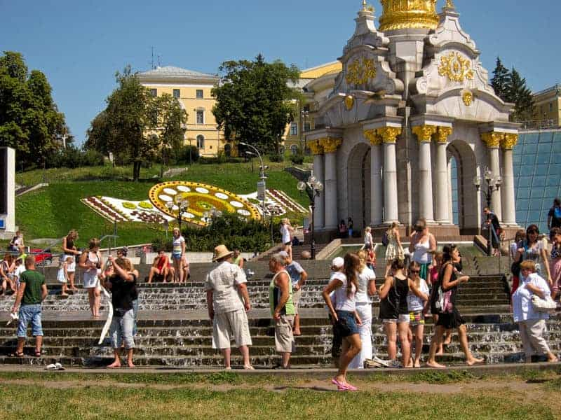 Fountains at Independence  Square on a public holiday in Kiev, Ukraine