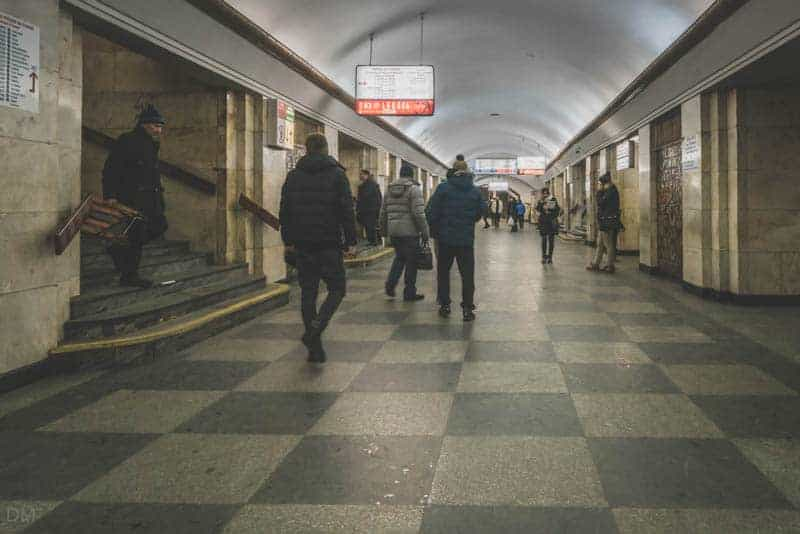 Central hall at Khreshchatyk Metro Station showing stairs to Maidan Nezalezhnosti Metro Station