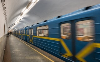 Train at Politekhnichnyi Instytut Metro Station in Kiev, Ukraine