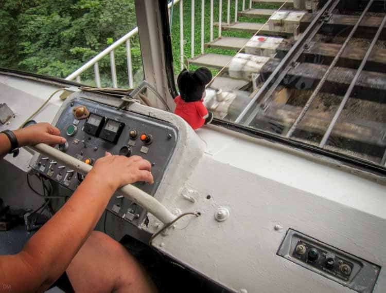 Photo of the cabin and control mechanisms of the Funicular railway train in Kiev