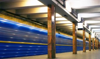 Train passing through a Metro station in Kiev