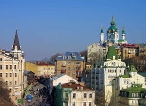 Andrews Descent in Kiev, street with souvenir stalls and art galleries