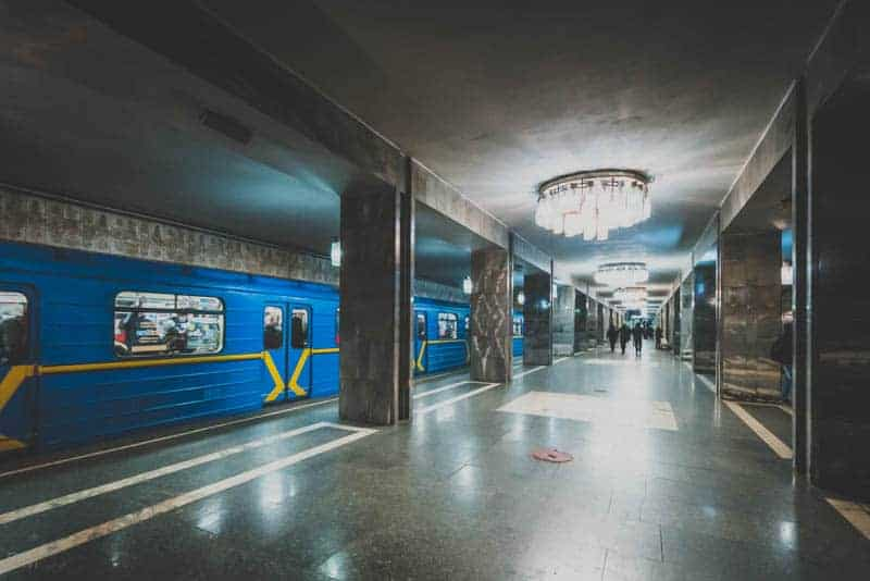 Platform at Tarasa Shevchenka Metro Station in Kiev, Ukraine