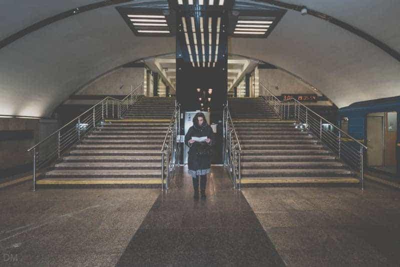 Girl at stairs to exit of Vasylkivska Metro Station