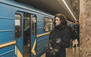 Girl on platform of Ipodrom Metro Station in Kiev