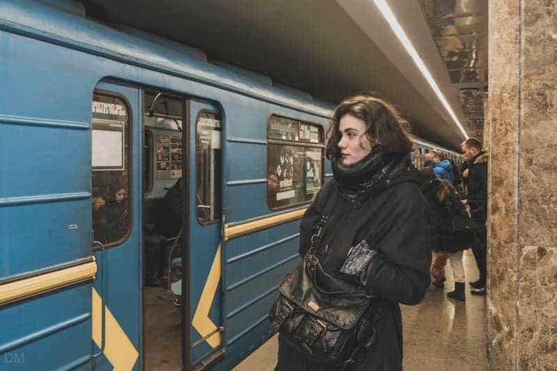 Girl on platform of Ipodrom Metro Station in Kiev