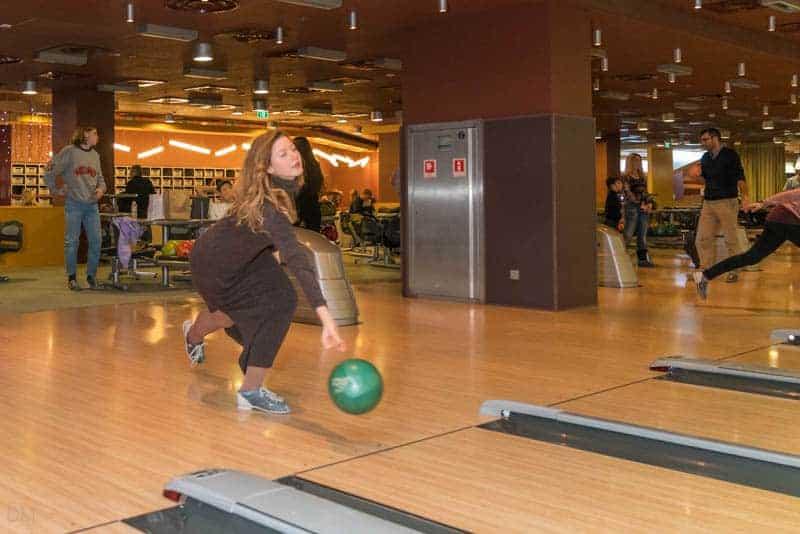 Ukrainian girl bowling at Gulliver Bowling tenpin bowling centre in Kiev, Ukraine