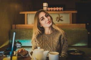 Ukrainian girl in Murakami Japanese restaurant in Kiev, Ukraine