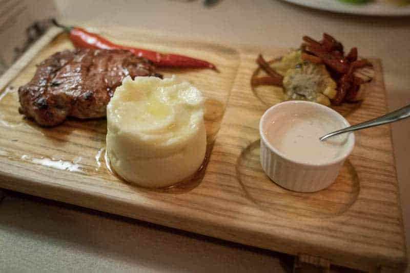 Ribeye steak with mashed potato
