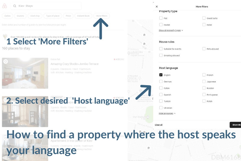 How to find Airbnb apartments where host speaks English or your language